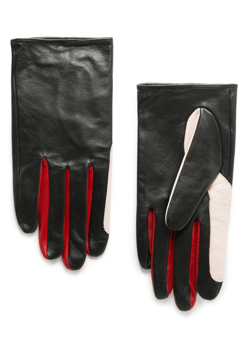 mango tricolor leather gloves