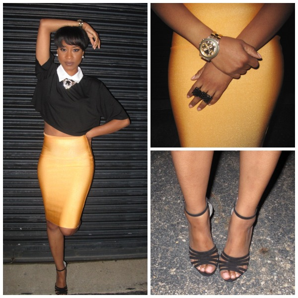 yellow skirt ootd collage