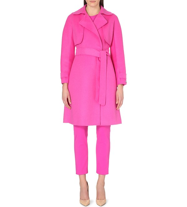 pink wool caot