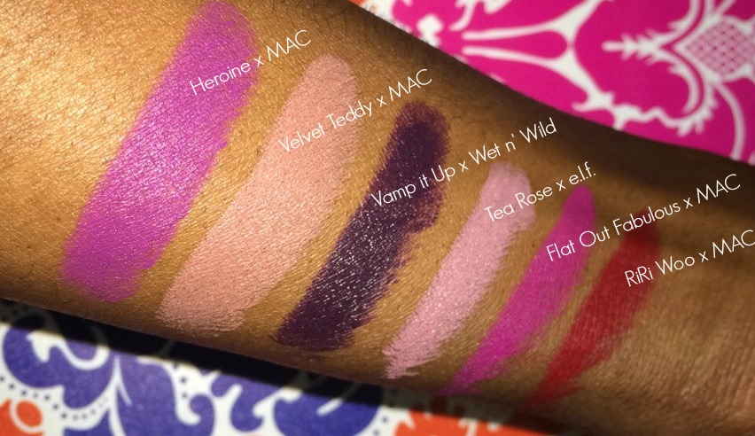 Lipsticks for Dark Skin Swatches