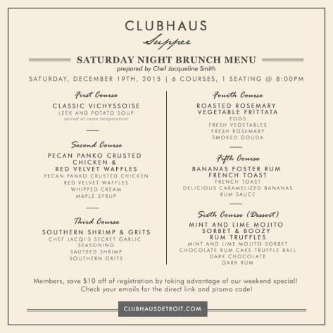 cluhaus menu